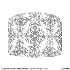 Elegant Grey and White Floral Vintage Style Damask