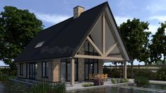 Modern Family House, Style At Home, Tiny House, Gazebo, Villa, New Homes, Barn, Outdoor Structures, House Design