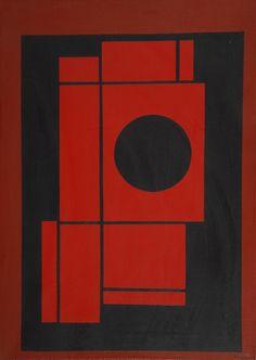 Amédée Cortier (Belgian, 1921-76): Composition avec cercle et rectangles. Oil on canvas, 70 x 50 cm.