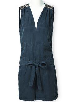 V Neck Sleeveless Rhinestone Drawstring Jumpsuits In Blue