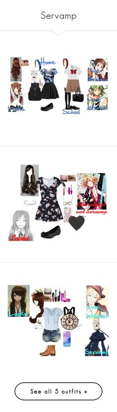 """Servamp"" by bec1995 ❤ liked on Polyvore featuring Lands' End, Steve Madden, Balmain, Melissa, Too Faced Cosmetics, Forever 21, Maybelline, Christopher Kane, Hollister Co. and Topshop"