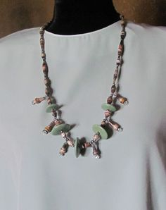 Cold Porcelain / Paper Bead Tier Necklace by OrchidViola on Etsy, $38.00