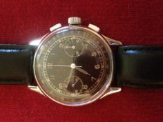 Vintage 1945 Breitling Premiere 760 Stainless Steel Chronograph w/ Black Dial