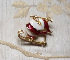 Enamel Father Christmas Brooch 1960s Vintage by AlwaysSeeking