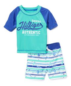 d6f2560008 This Turquoise Sail Rashguard & Swim Trunks - Infant, Toddler & Boys by  Tommy Hilfiger is perfect! Amelia Harrison