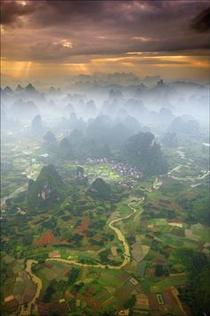 view from hot air balloon over Yangshuo, China