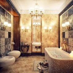 Chandeliers in a Luxurious Bathroom