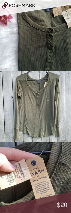 Ae • Vintage Wash Thermal Henley Deep green henley top in a lightweight thermal material. Slightly oversized fit. Unique vintage wash. Great for chilly summer nights or stash it away for fall!   Brand new with tags, never worn.  No holds, trades or off-posh transactions. American Eagle Outfitters Tops Blouses