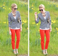 Navy Blue Striped Blazer, red pants - thestylesafari.com