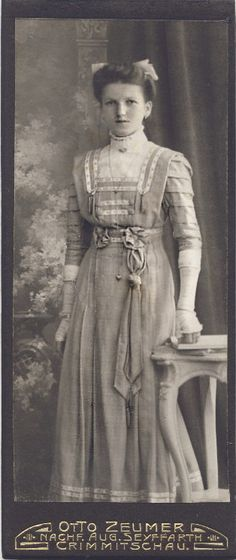 +~+~ Antique Photograph ~+~+  Beautiful portrait on a young woman finely dressed.  I noticed she has a sweet, long, heart locket.  ca. 1908