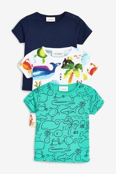 Buy Bright Sea Print T-Shirt Three Pack Monate bis 2 Jahre) from Next Germany Latest Boys Fashion, Boy Fashion, Kids Clothes Boys, Toys For Boys, Kids Clothing, Print T Shirts, Unisex, Textile Prints, Toddler Boys