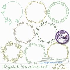 You will receive: 8 wreaths elements. Each element is saved separately in 10x10 300dpi PNG.  Digital wreaths, wedding clip art , floral wedding,