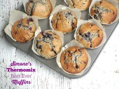 Simone's now not-so-secret recipe. It's the combination of the blueberries, dark chocolate and the addition of sour cream that will have you a-loving these muffins!