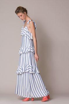 Shoulder Detail Maxi Dress Pretty Dresses, Beautiful Dresses, Casual Formal Dresses, Long Summer Dresses, Jumpsuit Dress, The Dress, Pattern Fashion, Cotton Dresses, Striped Dress