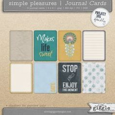 {Simple Pleasures} P365 Journal Cards | A Little Giggle Desig