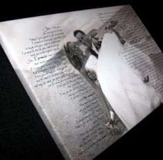 wedding picture with vows on a canvas