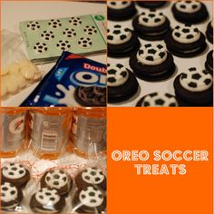 Oreos with sugar soccer decorations, icing to stick.photo of Oreo Soccer cookies. EASY to make treat for soccer team Moms :)