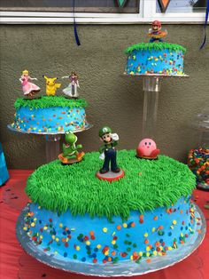 Super Smash Bros themed cake. After looking around I decided to make my own version of the popular video game. My nephew loved it!!!
