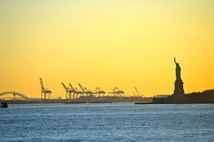 While visiting NYC you MUST ride the Staten Island Ferry and it's free!! Great sunset views. View of the Statue of Liberty and the Bayonne Bridge. I took this photo while on the  Staten Island Ferry.