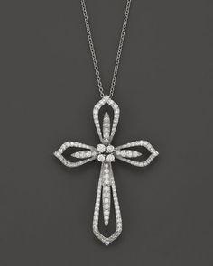 "Diamond Cross Pendant Necklace in 14K White Gold, 1.20 ct. t.w., 17"""