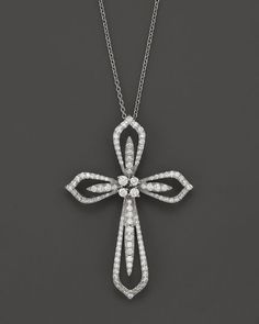 Diamond Cross Pendant Necklace in 14K White Gold, 1.20 ct. t.w., 17""