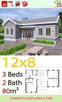 House Plans 128 with 3 Bedrooms Gable roof Sam House Plans Little House Plans, Small House Floor Plans, Dream House Plans, Timy House Plans, Modern Bungalow House Design, Simple House Design, House Roof, Facade House, Gable House