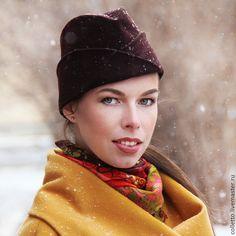 Купить Шапка-пилотка с отворотами - коричневый, шапка, шляпка, пилотка, головные уборы для женщин