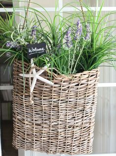 A beachy welcome with a rustic door basket, starfish, and foliage. By Kristy Seibert