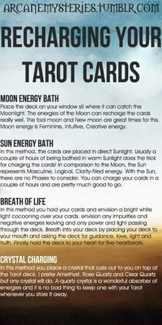 Recharging your tarot cards