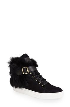 Rachel Zoe 'Brylan' Suede & Genuine Shearling High Top Sneaker (Women) at Nordstrom.com. Walk on the wild side in these lavishly soft suede sneakers with a belted, fold-over shearling cuff.