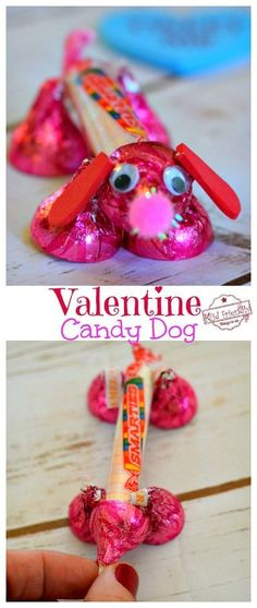 Make a Valentine's Candy Dog for a Fun Kid's Craft and Treat - Easy and Fun to Make! Made from Hershey's Kisses and Smarties Candy. Diy Valentine's Gifts For Kids, Valentine Gifts For Kids, Valentine's Day Crafts For Kids, Homemade Valentines, Valentines Day Treats, Valentine Day Crafts, Valentine Ideas, Diy Valentine's For Kids, Valentine Desserts