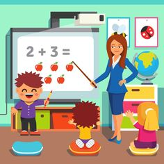 classroom training icon: Kindergarten teacher woman teaching kids math with an interactive board. Children studying in classroom. Flat style cartoon vector illustration with isolated objects. Kindergarten Math Worksheets, Kindergarten Reading, Kindergarten Teachers, Teaching Kids, Classroom Training, Kids Blankets, Education Quotes For Teachers, Place Values, Math For Kids