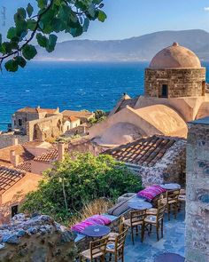 The medieval town of Monemvasia clings to the side of an island-like rock jutting out from Greece's southern Peloponnesian coast; Beautiful Islands, Beautiful Places, Monemvasia Greece, Travel Around The World, Around The Worlds, Greece Pictures, Places In Greece, Romantic Destinations, Travel Destinations