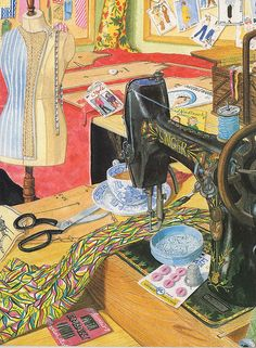 """This is a great picture, I have it in my sewing room, it is titled """"The sewing room"""" from the original watercolour by Christine May. Copyright The Lynn Tait Gallery. My Sewing Room, Sewing Art, Sewing Rooms, Love Sewing, Sewing Crafts, Sewing Projects, Sewing Spaces, Illustrations, Illustration Art"""