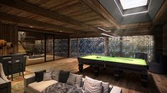 Billiard Gaming Room for Relaxation After Day on the Ski Slopes