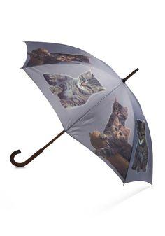 It's Raining Cats Umbrella - Grey, Multi, Print with Animals, Brown, Tan / Cream, Black, White