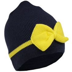 a1de0750698ca adidas Michigan Wolverines Ladies Bow Knit Beanie - Navy Blue Maize  Michigan Wolverines