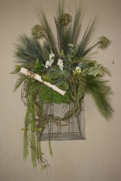 Fresh For Spring Wire Mountain Grass Basket. by BarnwoodBlooms