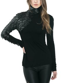 Yes!! Look at this #zulilyfind! CQbyCQ Black Scale Mock Neck Top by CQbyCQ #zulilyfinds