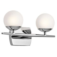 Features:  -Jasper collection.  -Number of lights: 2.  -Shade type: Satin etched cased opal.  Product Type: -Vanity light.  Style: -Contemporary.  Number of Lights: -2.  Shade Included: -Yes.  Bulb Ty