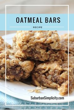 This is an easy and delicious recipe for oatmeal bars the whole family will love. The hubby says they're heavenly and the kids rave about them as well.