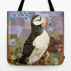 Puffin Art Beach Bag, Puffin Shoulder Bag, Summer Art Tote ...