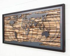 Mural sculptures world map wall art framed reclaimed wood metal horizonte de la ciudad de barnwood reciclada y acero negro etsy gumiabroncs Images