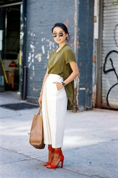 hot sale online 0d269 995df 21 Inspiring Street Style Looks You Have To See Now via  WhoWhatWear White  Culottes,