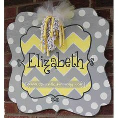 Chevron and PolkaDot Door Hanger Sign by SparkledWhimsy on Etsy, $40.00