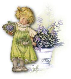little girl by big flowerpot - Lisi Martin Sarah Kay, Spanish Artists, Holly Hobbie, Rainbow Bridge, Cute Illustration, Vintage Cards, Decoupage, Vintage Children, Illustrators