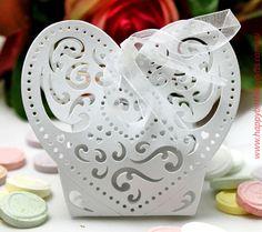 Heart Laser Cut Bomboniere Basket- 12pce - Wedding Favours, Bomboniere