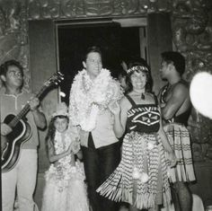 """Hawaiian ceremony for Elvis in August after a day of filming on the set of the movie """"Paradise, Hawaiian Style."""""""