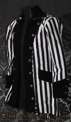 """Beetlejuice, Beetlejuice, Beetlejuice! Use the magic spell to become the pirate version of """"Bio-Exorcist"""" ;) The pirate coat has a thick velvet lapels, cuffs and collar and satin lining.<br />"""
