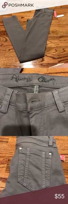 Alice and Oliva wax coated jeans Wax coated skinny jeans brand new with tags! Grey color Alice + Olivia Pants Skinny